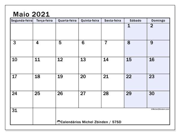 Calendário maio 2021, 57SD. Calendário mensal para imprimir gratuitamente.