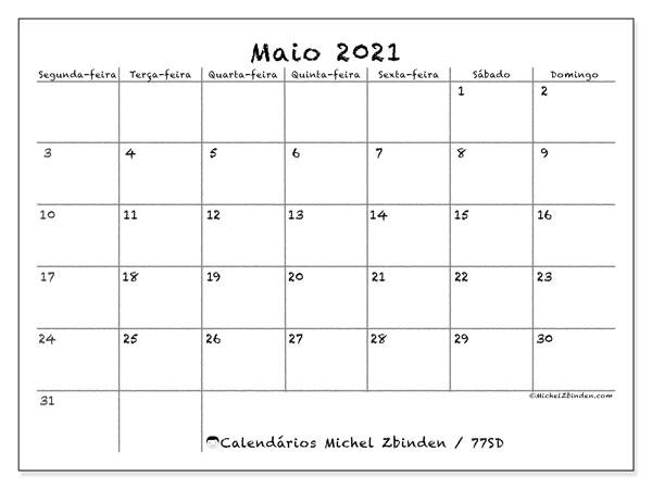 Calendario Maio 2021 77sd Michel Zbinden Pt