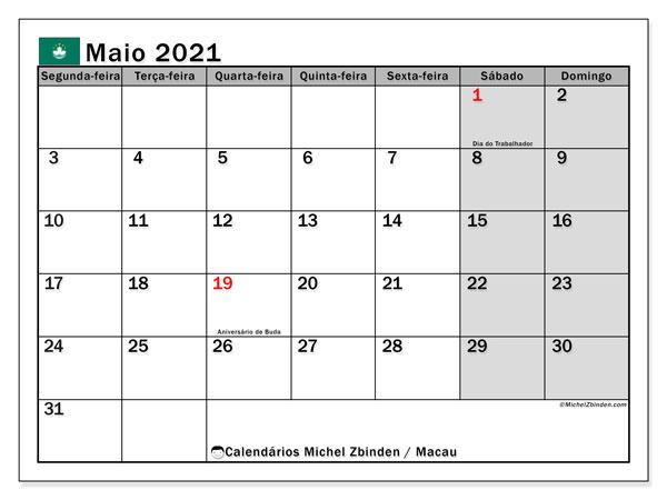 Calendário maio 2021, com as festas do Macau. Calendário para impressão gratuita com feriados.