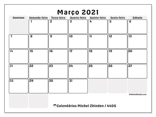 Calendário março 2021, 44DS. Calendário para o mês para imprimir livre.