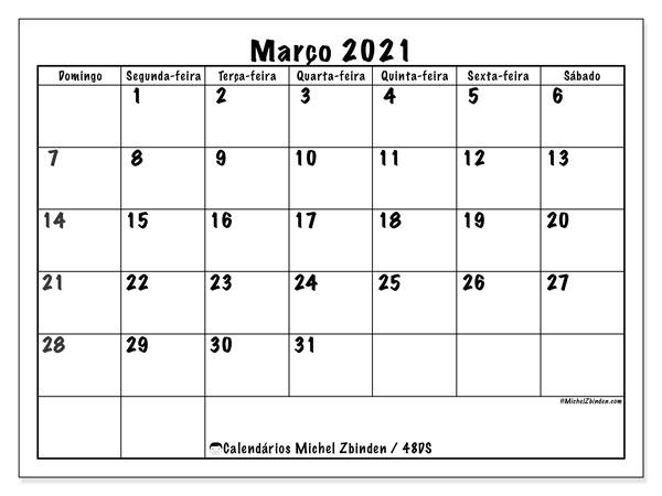 Calendário março 2021, 48DS. Agenda para imprimir livre.