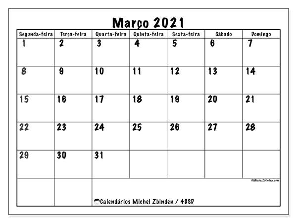 Calendário março 2021, 48SD. Calendário para imprimir livre.