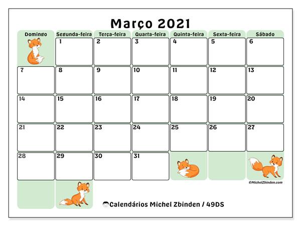 Calendário março 2021, 49DS. Calendário para imprimir livre.