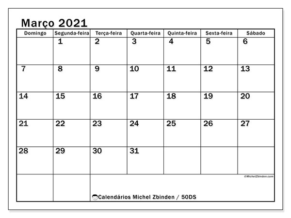 Calendário março 2021, 50DS. Agenda para imprimir livre.