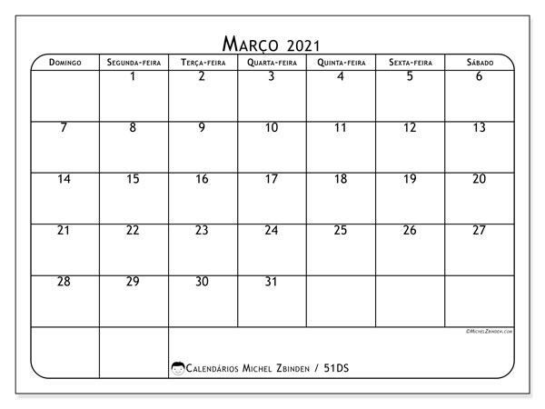 Calendário março 2021, 51DS. Agenda para imprimir livre.