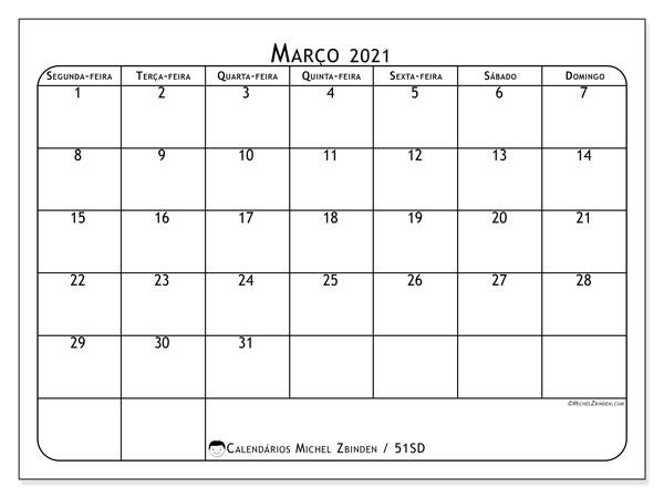 Calendário março 2021, 51SD. Calendário mensal para imprimir gratuitamente.