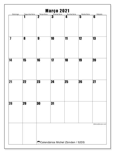 Calendário março 2021, 52DS. Calendário mensal para imprimir gratuitamente.