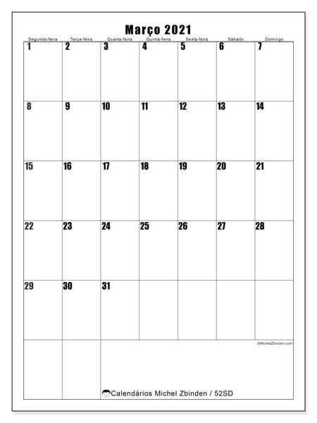 Calendário março 2021, 52SD. Horário para imprimir livre.