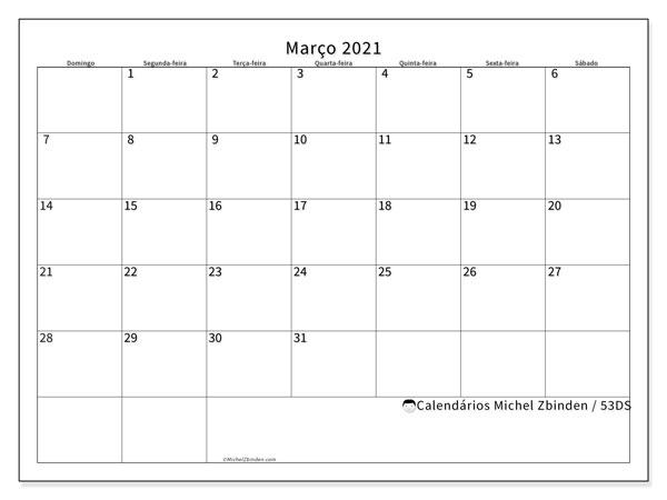 Calendário março 2021, 53DS. Calendário para imprimir livre.
