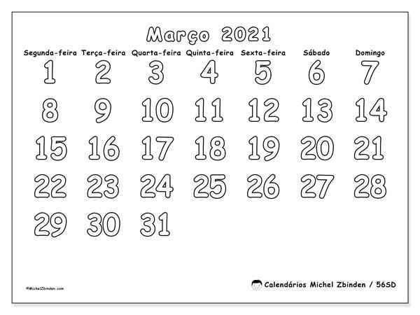 Calendário março 2021, 56SD. Calendário para o mês para imprimir livre.