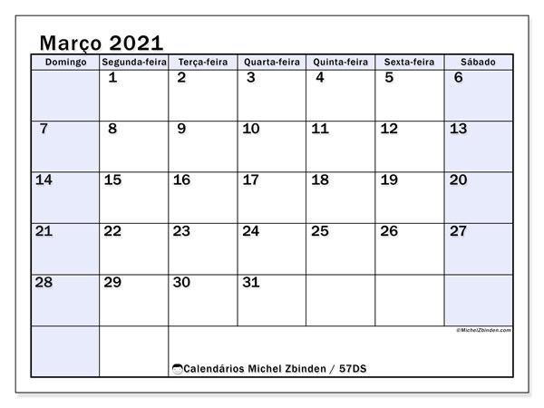 Calendário março 2021, 57DS. Agenda para imprimir livre.