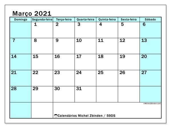 Calendário março 2021, 59DS. Calendário para imprimir gratuitamente.