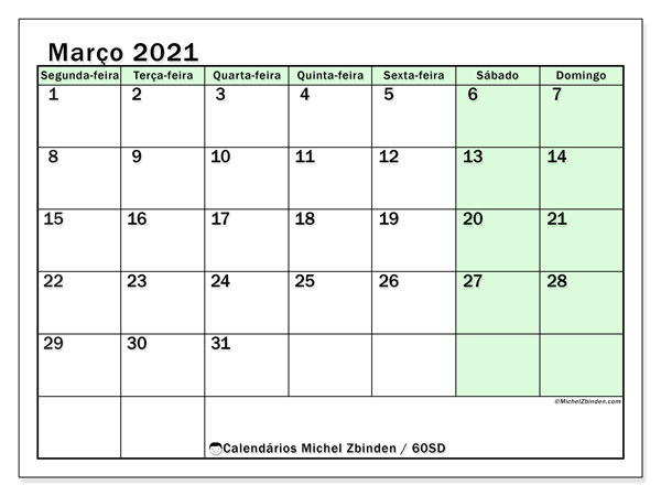 Calendário março 2021, 60SD. Agenda para imprimir livre.