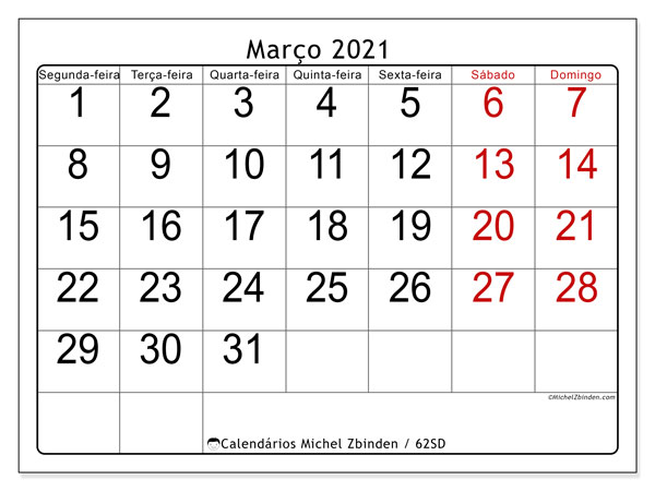 Calendário março 2021, 62SD. Calendário para o mês para imprimir livre.