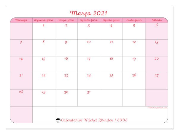 Calendário março 2021, 63DS. Calendário para imprimir gratuitamente.