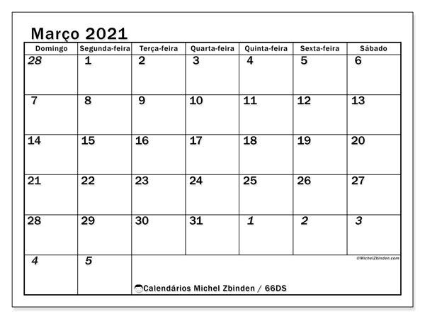 Calendário março 2021, 66DS. Calendário para o mês para imprimir livre.