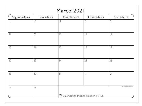 Calendário março 2021, 74DS. Calendário gratuito para imprimir.