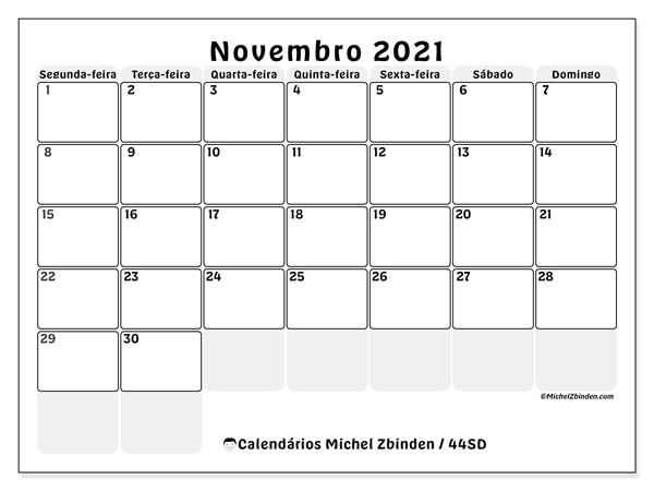 Calendário novembro 2021, 44SD. Calendário mensal para imprimir gratuitamente.