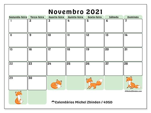 Calendário novembro 2021, 49SD. Calendário mensal para imprimir gratuitamente.