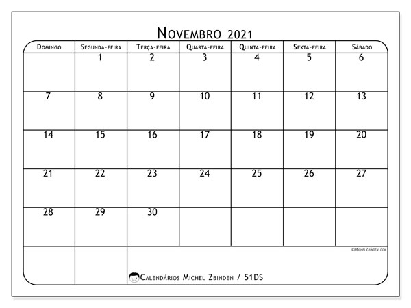 Calendário novembro 2021, 51DS. Agenda para imprimir livre.