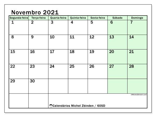 Calendário novembro 2021, 60SD. Calendário para o mês para imprimir livre.