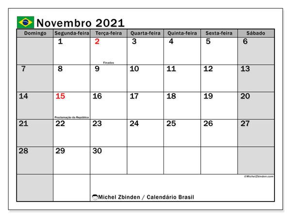 Calendário novembro 2021, com as festas do Brasil. Calendário feriados para imprimir gratuitamente.