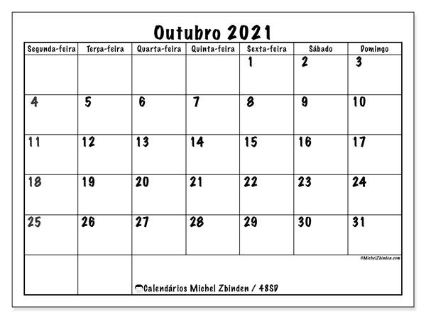 Calendário outubro 2021, 48SD. Horário para imprimir livre.