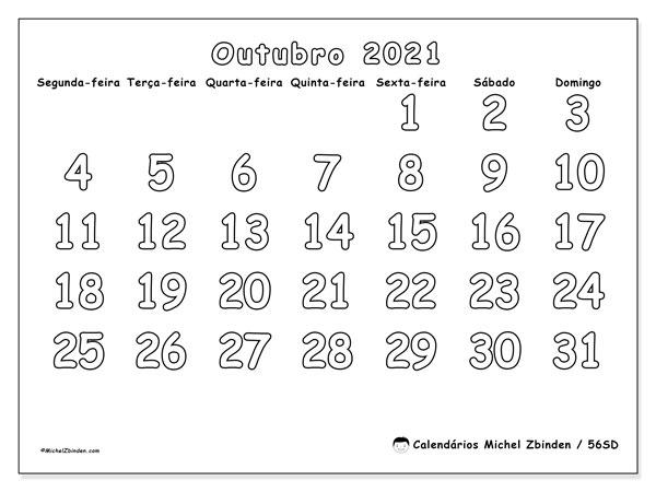 Calendário outubro 2021, 56SD. Agenda para imprimir livre.