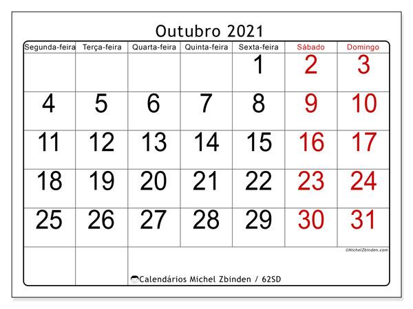 Calendário outubro 2021, 62SD. Calendário gratuito para imprimir.