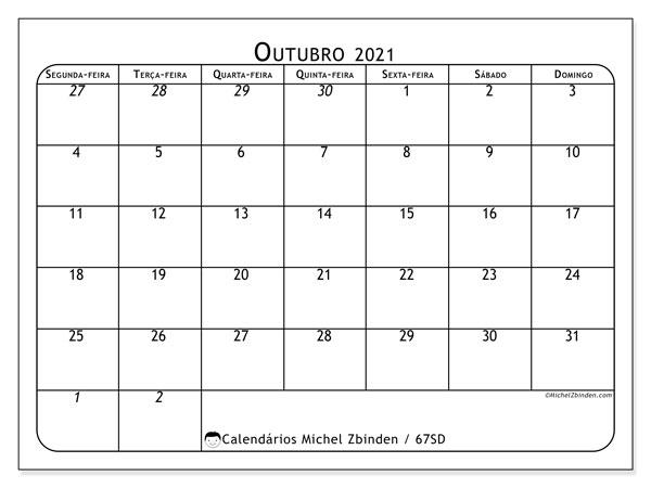 Calendário outubro 2021, 67SD. Calendário para o mês para imprimir livre.
