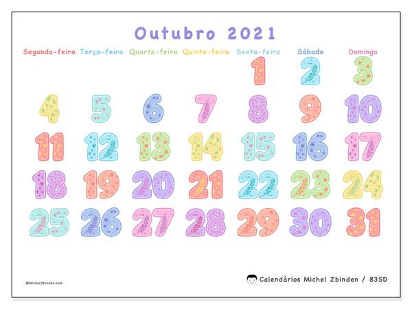 Calendário outubro 2021, 83SD. Calendário gratuito para imprimir.