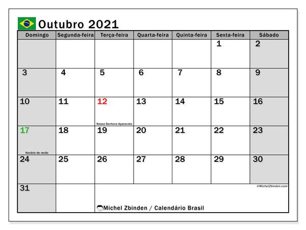 Calendário outubro 2021, com as festas do Brasil. Calendário para impressão gratuita com feriados.