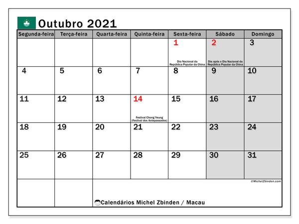 Calendário outubro 2021, com as festas do Macau. Calendário para impressão gratuita com feriados.