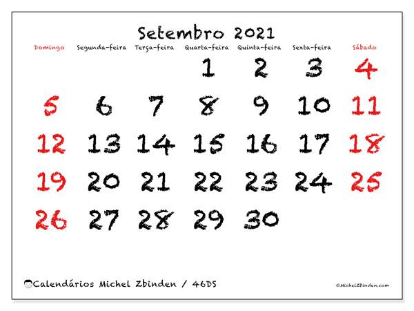"Calendário ""46DS"" setembro de 2021 para imprimir   Michel Zbinden PT"