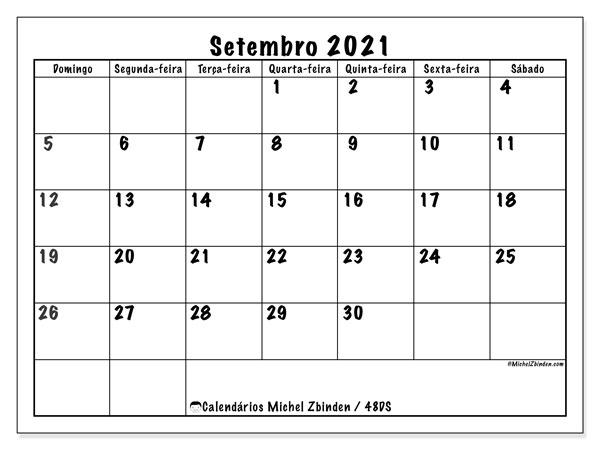 "Calendário ""48DS"" setembro de 2021 para imprimir   Michel Zbinden PT"