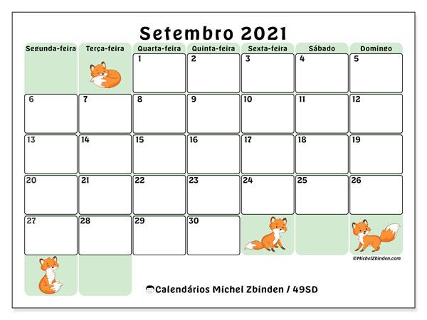 Calendário setembro 2021, 49SD. Calendário mensal para imprimir gratuitamente.