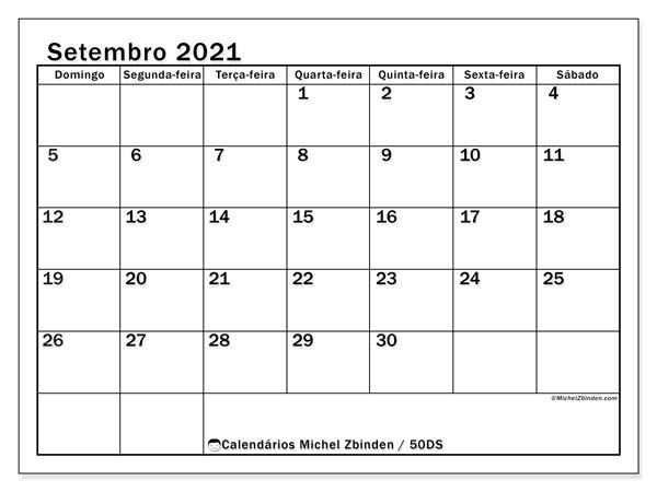 Calendário setembro 2021, 50DS. Calendário para imprimir livre.