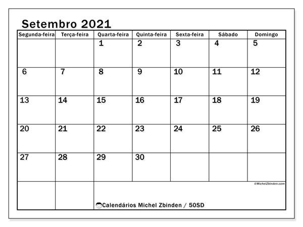 Calendário setembro 2021, 50SD. Calendário para imprimir gratuitamente.