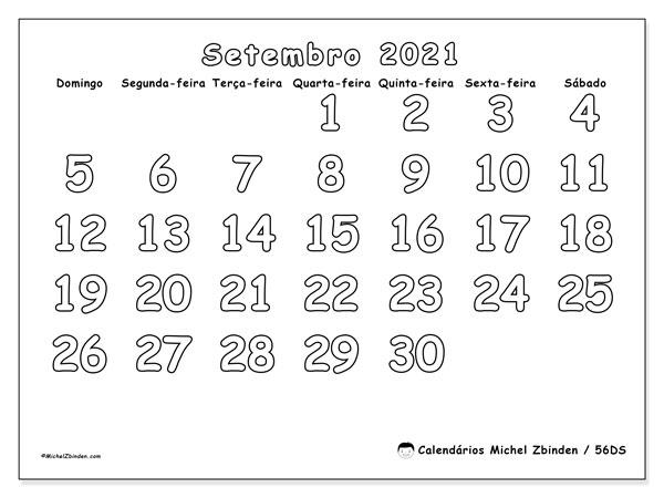 Calendário setembro 2021, 56DS. Calendário mensal para imprimir gratuitamente.