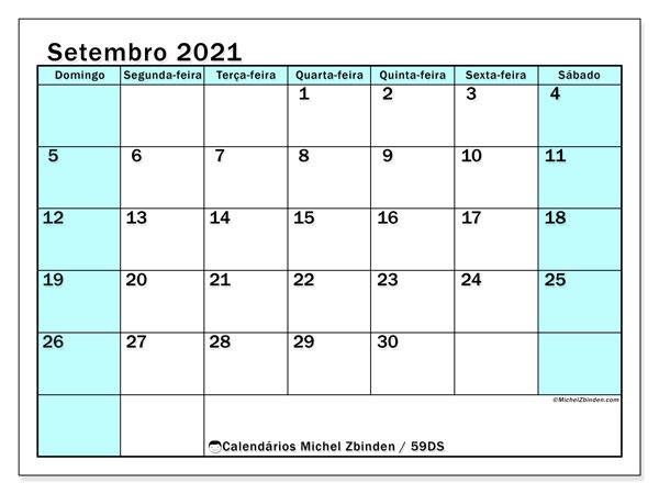 Calendário setembro 2021, 59DS. Calendário mensal para imprimir gratuitamente.