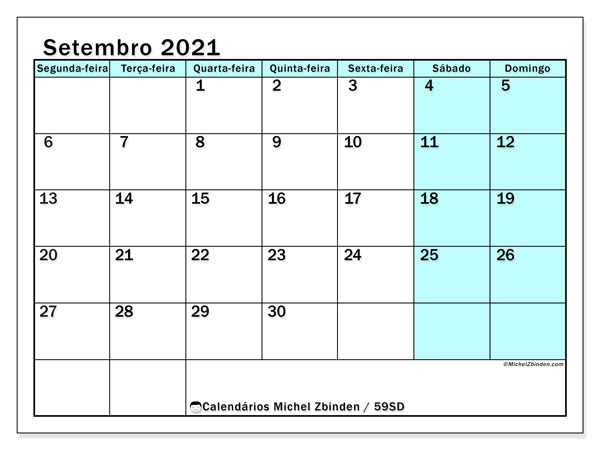 Calendário setembro 2021, 59SD. Calendário mensal para imprimir gratuitamente.