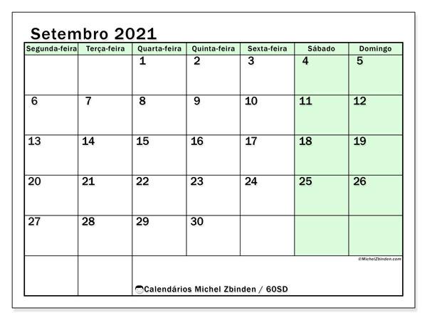 Calendário setembro 2021, 60SD. Calendário para imprimir gratuitamente.