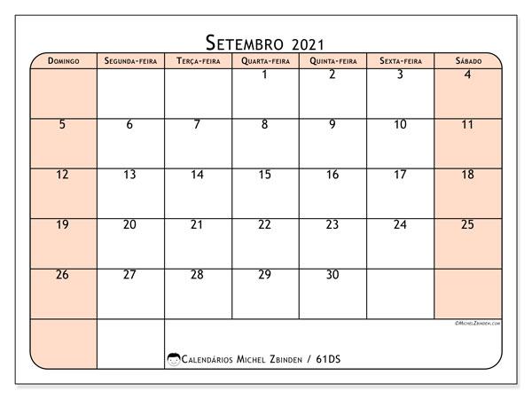 Calendário setembro 2021, 61DS. Calendário para imprimir gratuitamente.