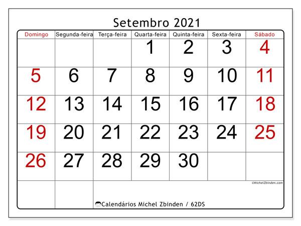"Calendário ""62DS"" setembro de 2021 para imprimir   Michel Zbinden PT"