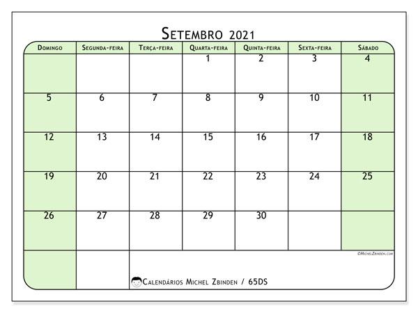 Calendário setembro 2021, 65DS. Agenda para imprimir livre.
