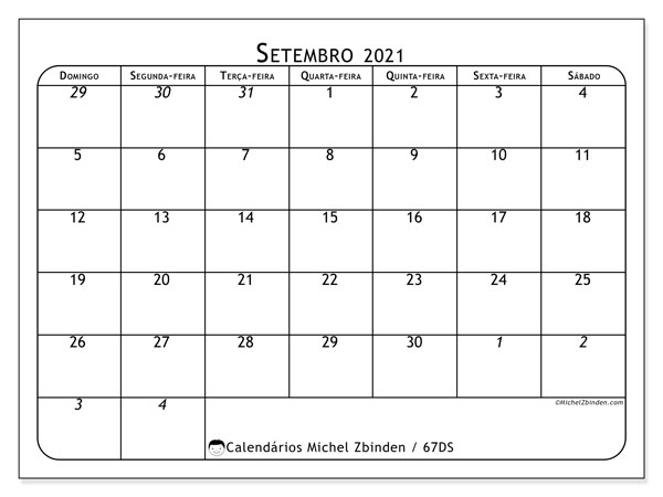 Calendário setembro 2021, 67DS. Calendário mensal para imprimir gratuitamente.