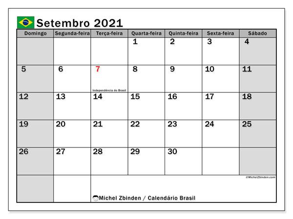 Calendário setembro 2021, com as festas do Brasil. Calendário para impressão gratuita com feriados.