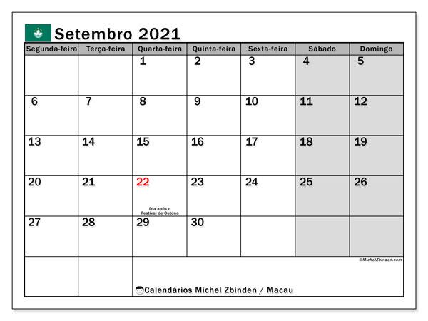 Calendário setembro 2021, com as festas do Macau. Calendário feriados para imprimir gratuitamente.