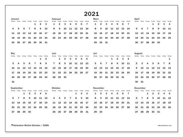Kalender 2021, 32MS. Gratis kalender att skriva ut.