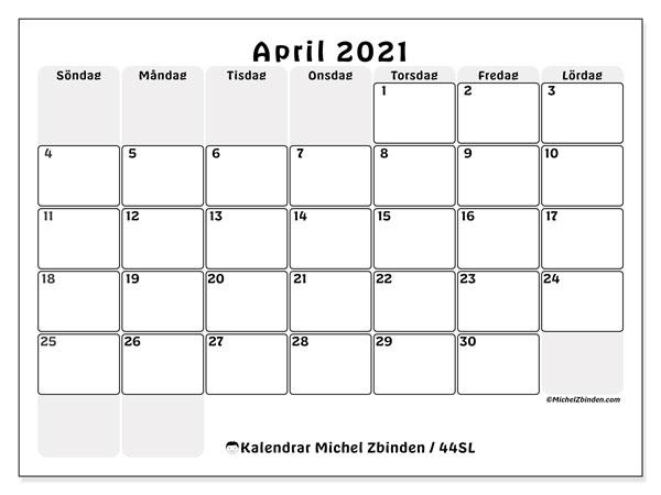 Kalender april 2021, 44SL. Almanak för att skriva ut gratis.